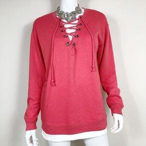H1-25: Pink by Victoria's Secret Orange sweater XS